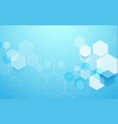 Abstract blue geometric hexagon shape background vector