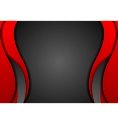 Abstract contrast red black wavy corporate vector
