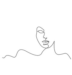 Abstract face woman continuous one line vector