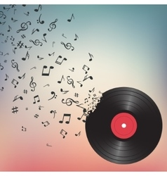 Abstract music background with notes and vinyl vector