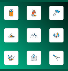 Activity icons colored line set with bonfire vector