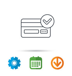 approved credit card icon shopping sign vector image