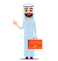 Arab man in white clothes cute cartoon character vector