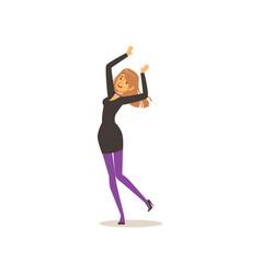 attractive girl in elegant black dress dancing vector image