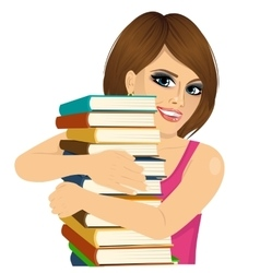 attractive woman hugging stack of books happily vector image