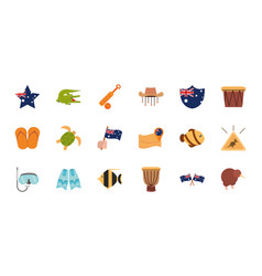 Australia animal things famous sites icons set on vector