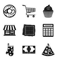 bakery business icons set simple style vector image