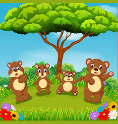 beautiful view with the group of brown bear vector image