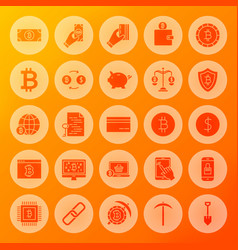 Bitcoin solid circle icons vector