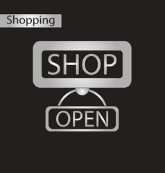 Black and white style icon label store opened vector