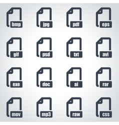 black file format icon set vector image