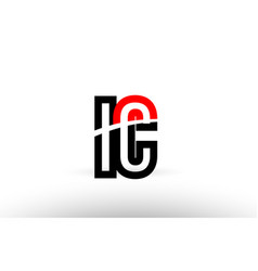 Black white alphabet letter ic i c logo icon vector