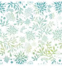 blue green nautical seaweed pattern vector image