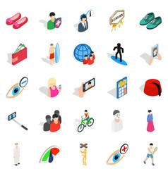 Body training icons set isometric style vector