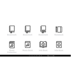 bookmark notebook icons music book collection vector image