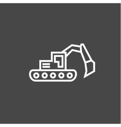 Bulldozer excavator in a linear style flat vector image