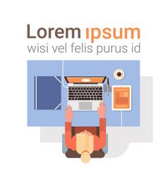 Businessman workplace desk hands working laptop vector