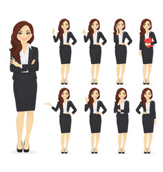 businesswoman character set vector image
