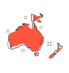 Cartoon australia and oceania map icon in comic vector