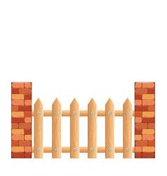 Cartoon rural wooden fence vector