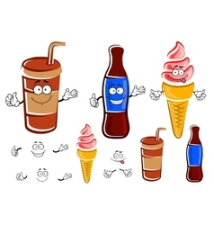 Cartoon soda bottle cup and ice cream vector