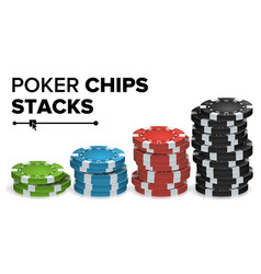 Casino chips stacks realistic colored vector