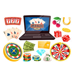 casino gambling online laptop and gambler icons vector image