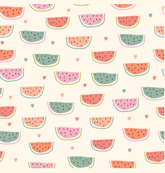 childish seamless pattern with watermelon vector image