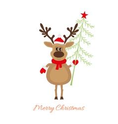 Christmas reindeer with Christmas tree vector image