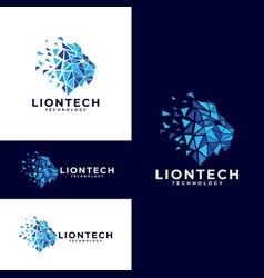 colorful lion head logo design vector image