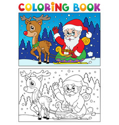 coloring book santa claus topic 7 vector image