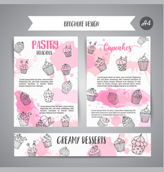 Cupcake brochure with handdrawn cupcakes and pink vector