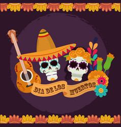 day dead skulls catrina with hat flowers vector image