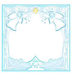Decorated background with angels and bethlehem vector
