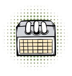 Desktop calendar comics icon vector image