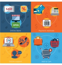 E-commerce icons set flat vector image vector image