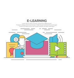e-learning line flat design concept vector image