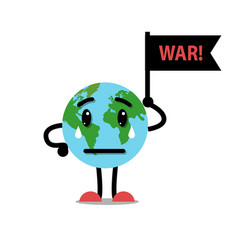 earth globe crying with flag war vector image