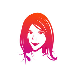 face of young female - clipart isolated on vector image