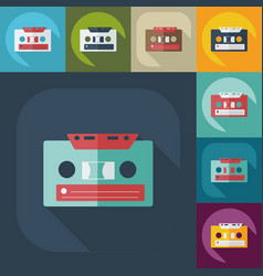 flat modern design with shadow cassette tape vector image