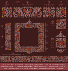flower decorative ornaments building kit - red vector image