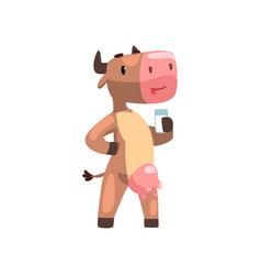 funny brown cow with glass of milk farm animal vector image