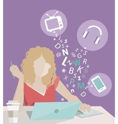 girl in flat design vector image