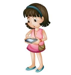 Girl using smartphone vector image