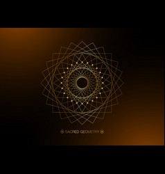 gold circle mandala sacred geometry round frame vector image