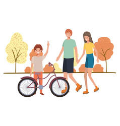 Group people with bicycle in landscape vector