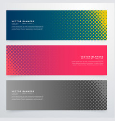 Halftone style banners set vector