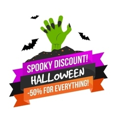Halloween sale logo or label vector