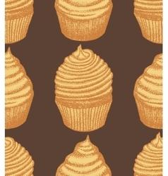 Hand drawn dark cupcake background vector