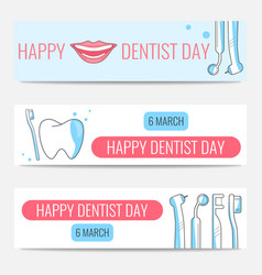 happy dentist day banners vector image